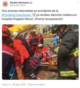 twitter accidente en montaña rusa
