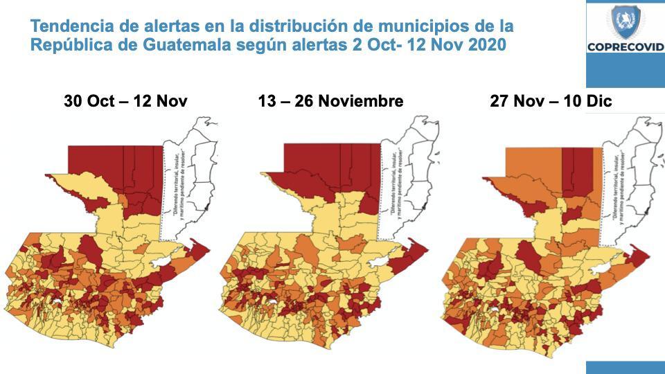 Semáforo de alertas covid-19: Mixco, Villa Nueva y 71 municipios más cambian a alerta roja